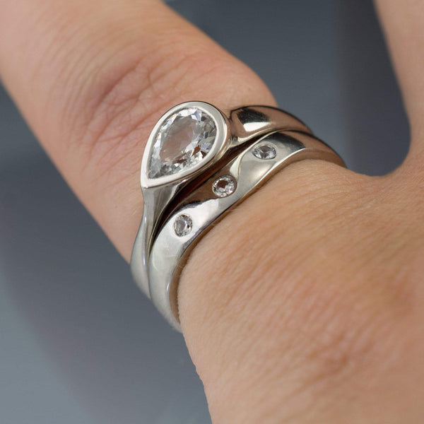 Bridal Set Pear White Sapphire Tear Drop Bezel Ring and Shadow Band