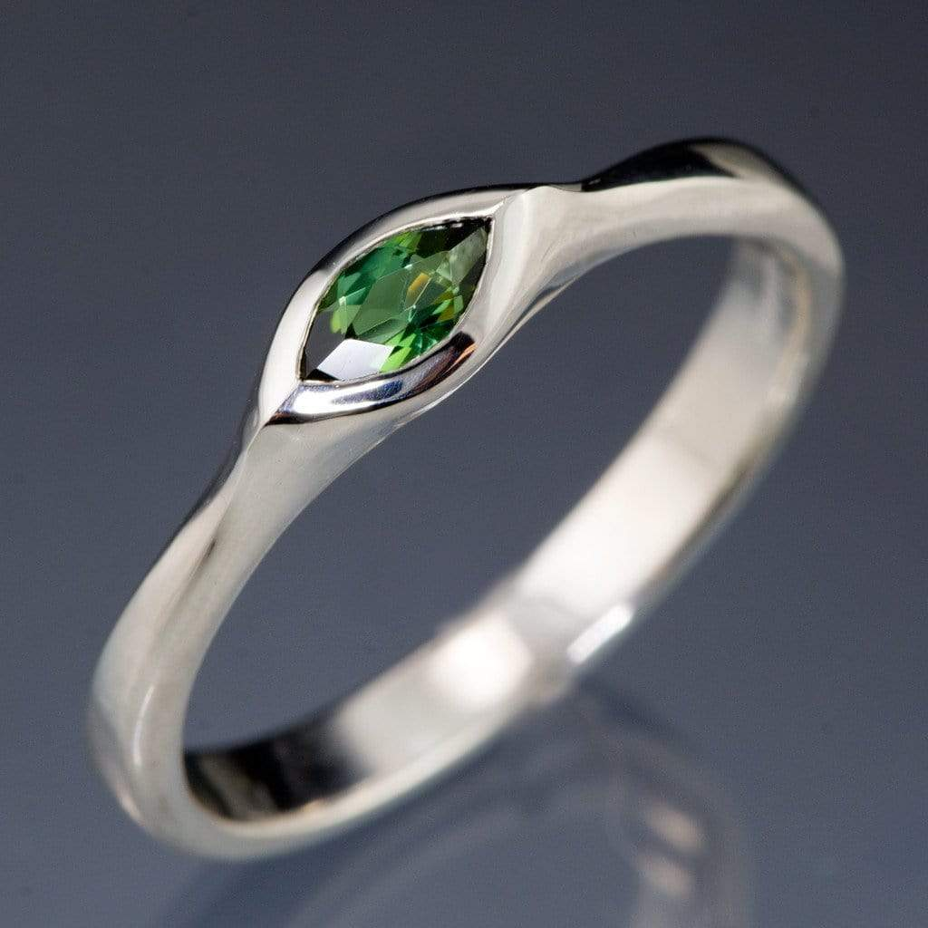 Marquise Green Tourmaline Bezel Solitaire Engagement Ring