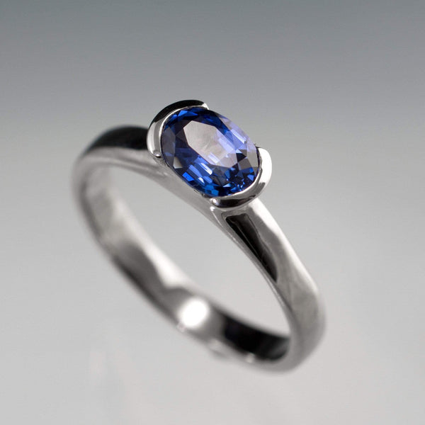 Chatham Lab Created Oval Blue Sapphire Half Bezel Solitaire Engagement Ring - by Nodeform