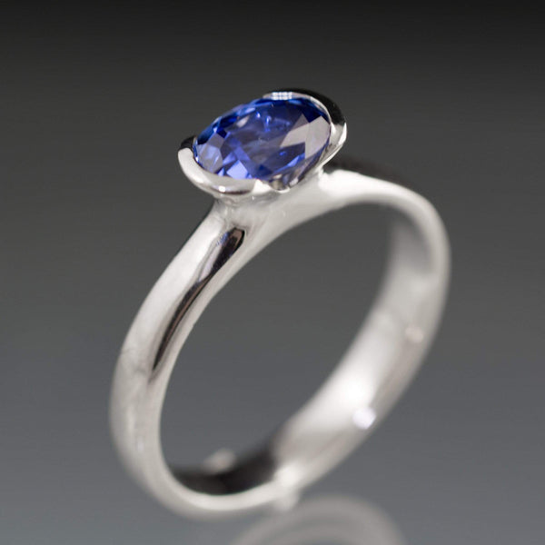 Chatham Lab Created Oval Blue Sapphire Half Bezel Solitaire Engagement Ring