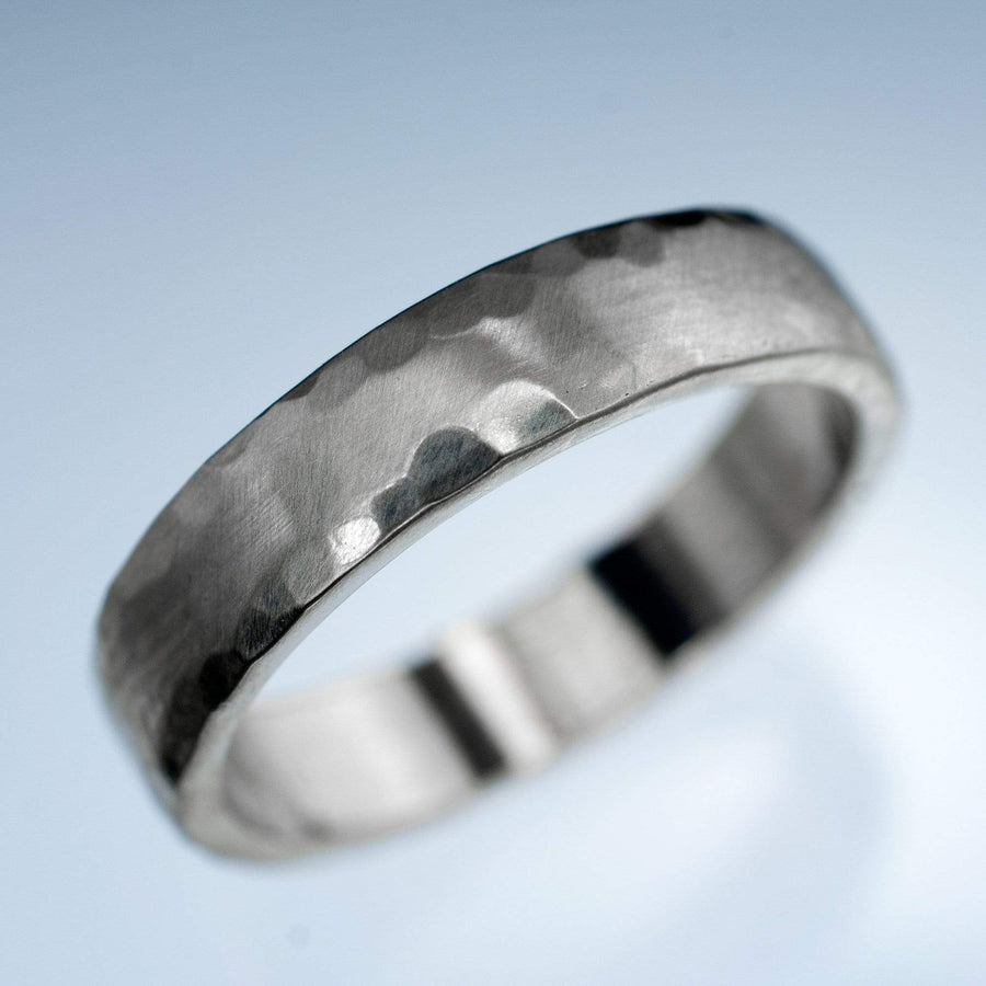 Hammered Edge Textured Wedding Band