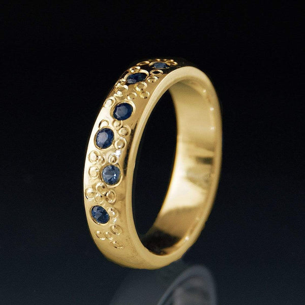 Blue Sapphire Star Dust gold Wedding Ring