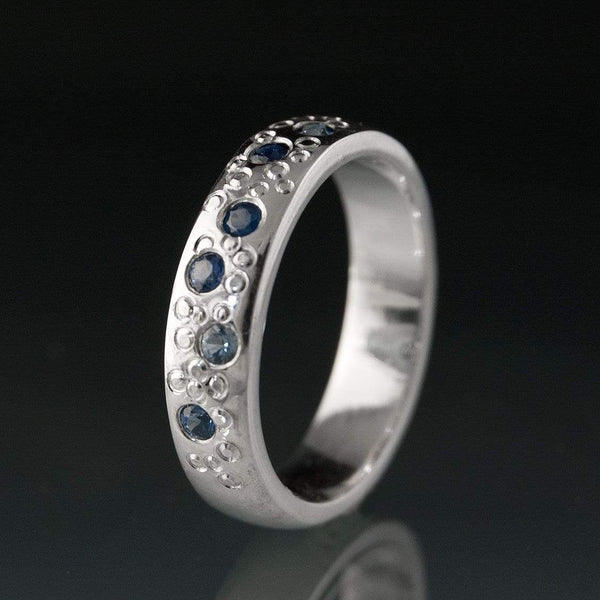 Blue Sapphire Star Dust palladium Wedding Ring