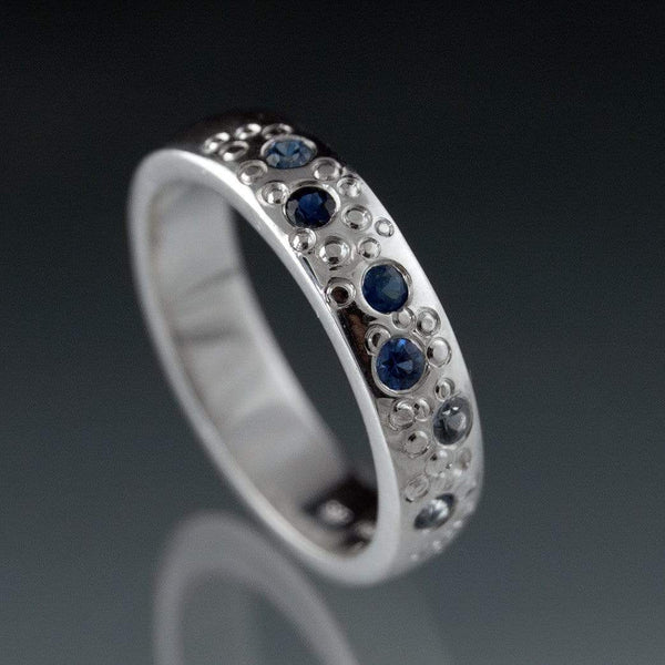 Blue Sapphire Star Dust silver Wedding Ring