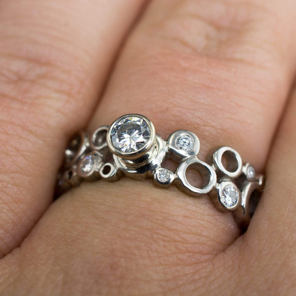 Moissanite Cluster Round Bezel Engagement Ring and Pave Band Bridal Set - by Nodeform
