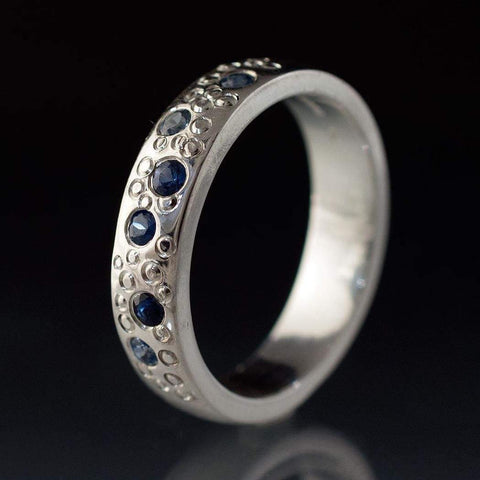 Blue Sapphire Star Dust Wedding Ring - by Nodeform