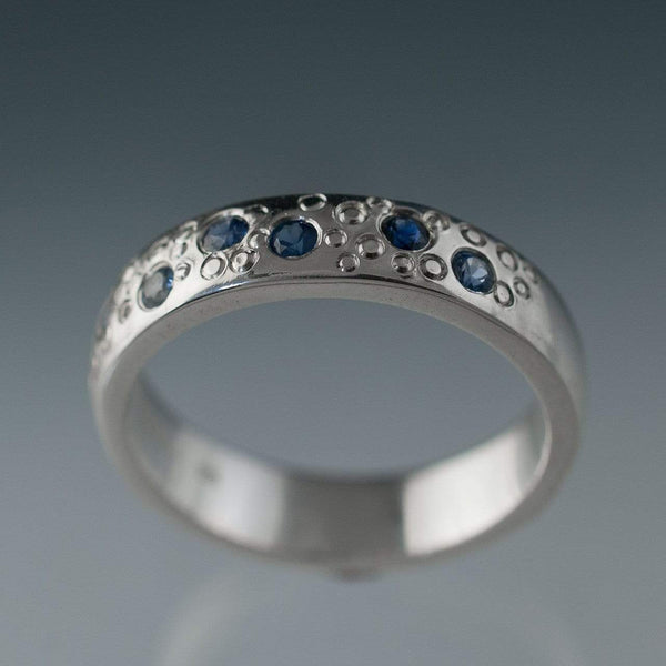 Blue Sapphire Star Dust Wedding Ring