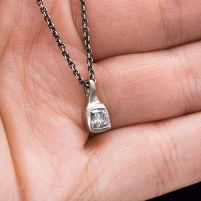 Cushion Cut Gray Moissanite Palladium Drop Pendant Silver Chain Necklace, Ready to Ship
