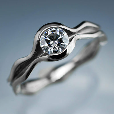 Wave Round Brilliant Moissanite Solitaire Wedding or Engagement Ring