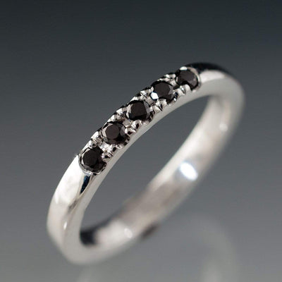 Black Diamond Pave Ring Stacking Wedding Band - by Nodeform