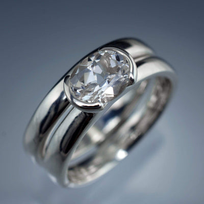 Oval White Sapphire Half Bezel Solitaire Bridal Ring Set - by Nodeform