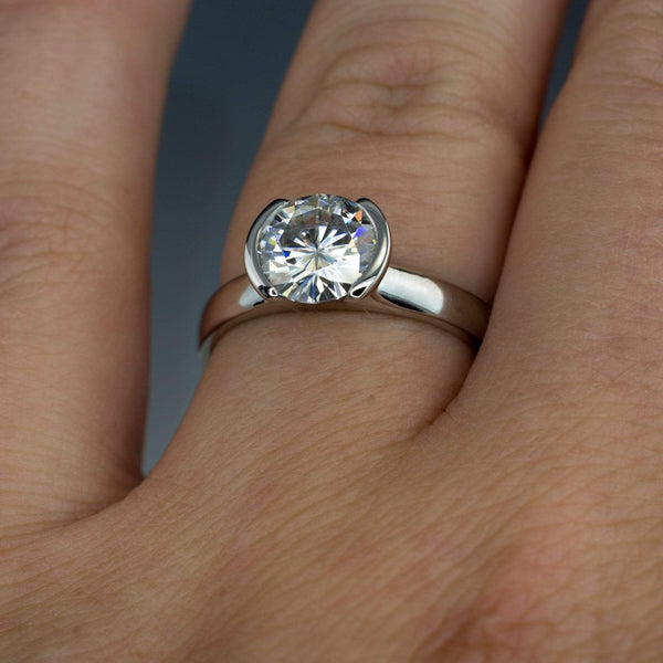 Round Moissanite Half Bezel Engagement Ring & Wave Wedding Band Bridal Set