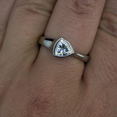 Trillion Moissanite Bezel Solitaire Engagement Ring - by Nodeform