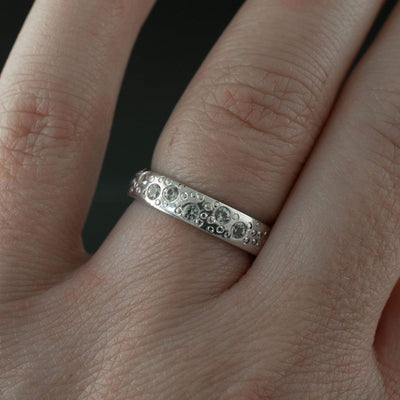 White Sapphire Star Dust Wedding Ring