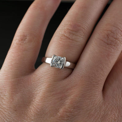 Cushion Moissanite Half Bezel Set Solitaire Engagement Ring - by Nodeform