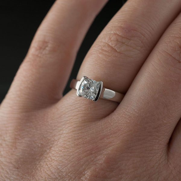 Cushion Moissanite Half Bezel Set Solitaire Engagement Ring