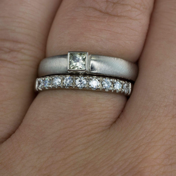 Moissanite Pave Ring Stacking Wedding Band