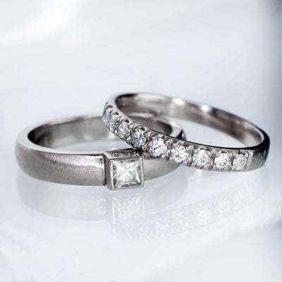 Moissanite Pave Ring Stacking Wedding Band - by Nodeform