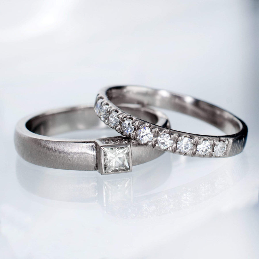 Princess Cut Moissanite Modern Bezel & Pave Band Bridal Wedding Ring Set - by Nodeform