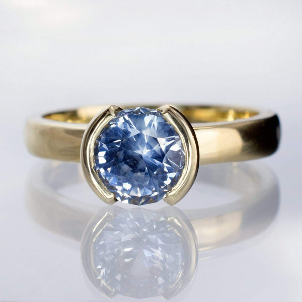 Blue to Green Eldorado Bar Montana Sapphire Half Bezel Engagement Ring - by Nodeform