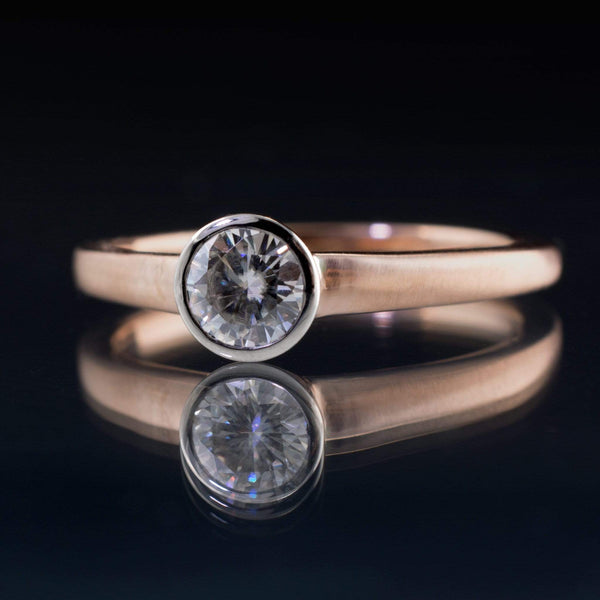 Palladium bezel set Moissanite on  rose gold ring