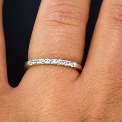 Narrow Sterling Silver Wedding Band with French Set Montana Sapphires, Ready to Ship