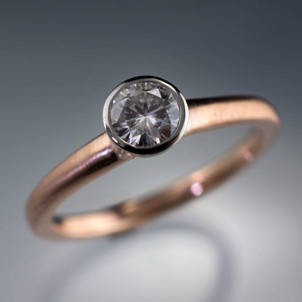 mixed metal rose gold and palladium moissanite ring