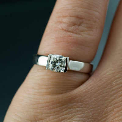 Cushion Moissanite Ring Modified Tension Solitaire Engagement Ring - by Nodeform