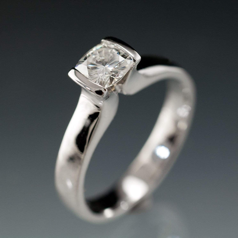 Cushion Moissanite Ring Modified Tension Solitaire Engagement Ring