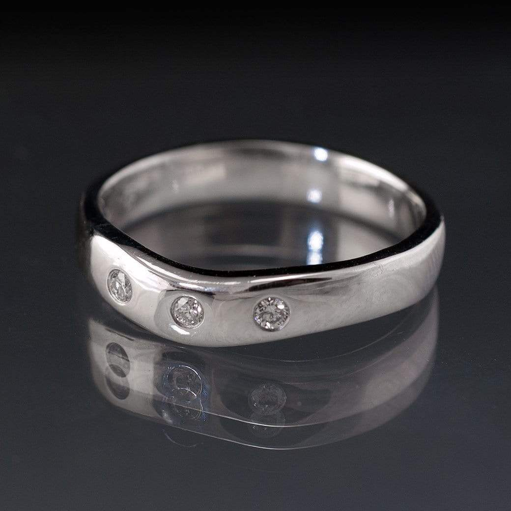 Diamond Fitted Contoured Wedding Ring, Diamond Shadow Band - by Nodeform