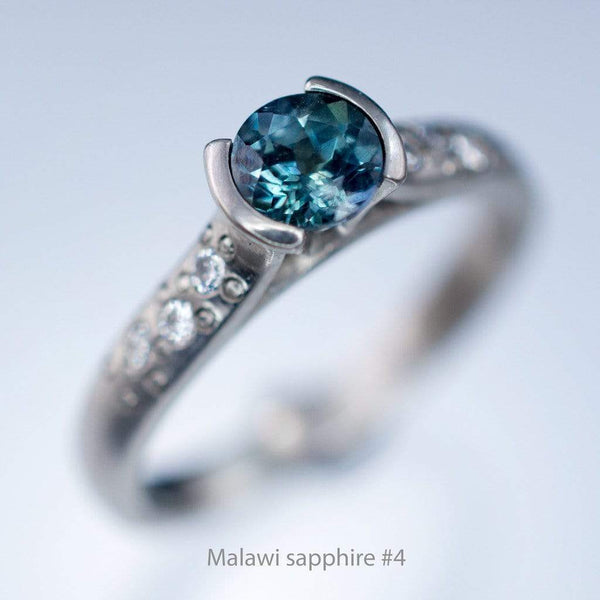 Fair Trade Blue / Green Malawi Sapphire Half Bezel Diamond Star Dust Engagement Ring