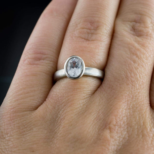 Lab Created Oval White Sapphire Bezel Solitaire Engagement Ring - by Nodeform