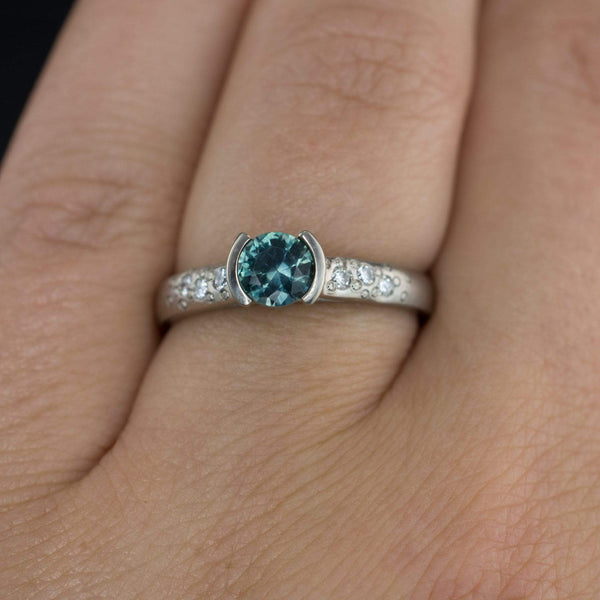 Fair Trade Blue / Teal Montana Sapphire Half Bezel Diamond Star Dust Engagement Ring - by Nodeform