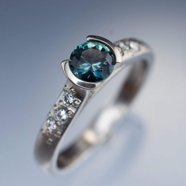 teal fair trade Montana sapphire engagement ring in palladium