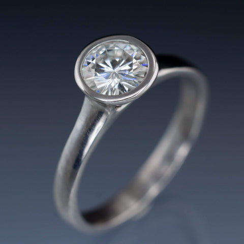 Peekaboo Bezel Set Round Moissanite Solitaire Palladium Engagement Ring, size 6 to 9 - by Nodeform