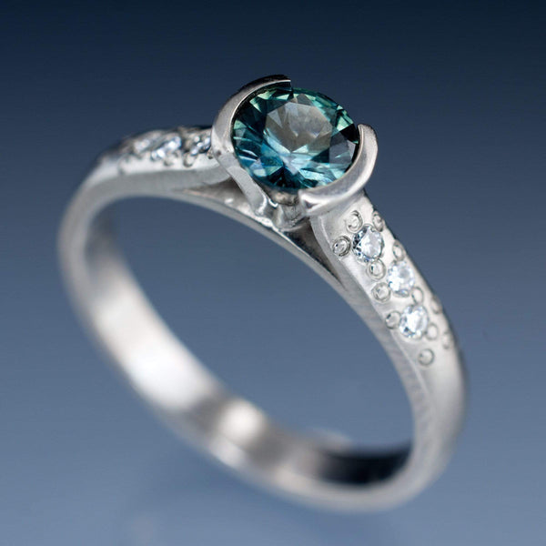 teal montana sapphire diamond star textured engament ring