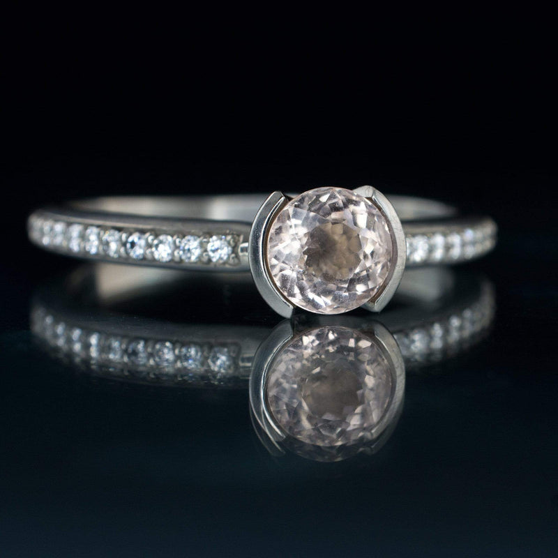 Morganite Half Bezel Diamond Micro Pave Engagement Ring - by Nodeform