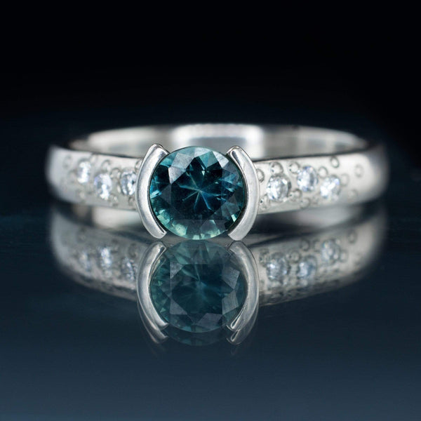teal montana sapphire diamond star textured semi bezel engament ring