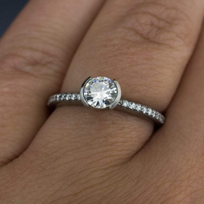 Moissanite Round Half Bezel Diamond Micro Pave Engagement Ring - by Nodeform