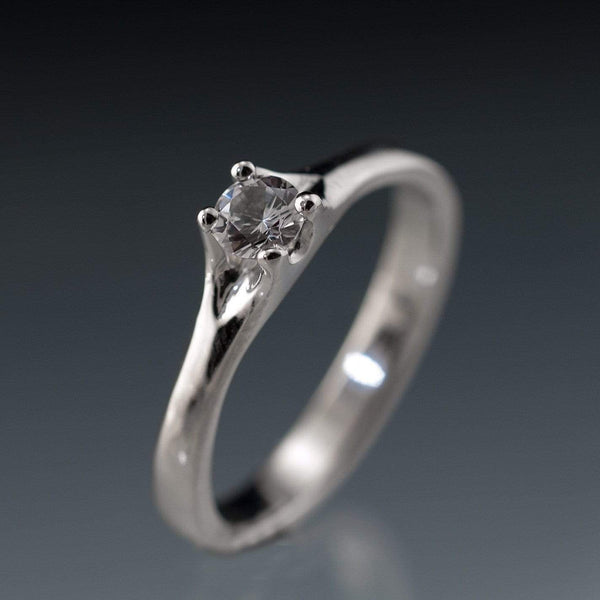 White Sapphire Classic Prong Solitaire Silver/Palladium Engagement Ring, size 6.5 to 8