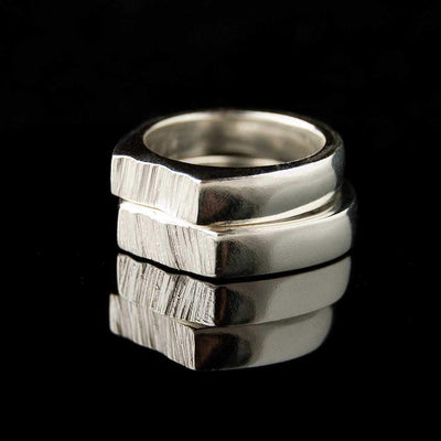 Matching Saw Cut Wedding Rings, Set of 2 Wedding Bands - by Nodeform