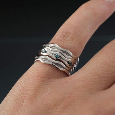 Wave Teal Blue Diamond Eternity Wedding Ring - by Nodeform