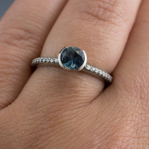 teal montana sapphire diamond pave engament ring in gold , platinum or palladium