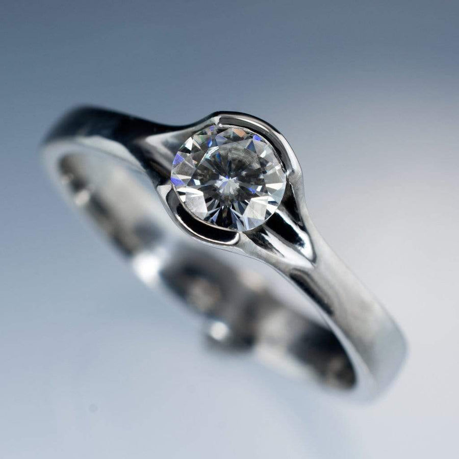Diamond Fold Semi-Bezel Set Solitaire Engagement Ring - by Nodeform