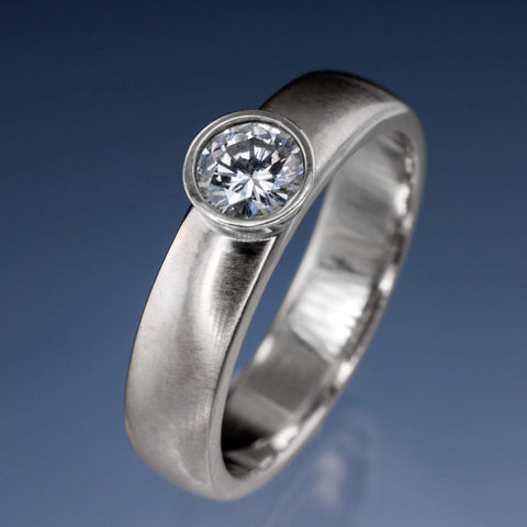 Round Diamond Modern Low Profile Bezel Set Engagement Ring