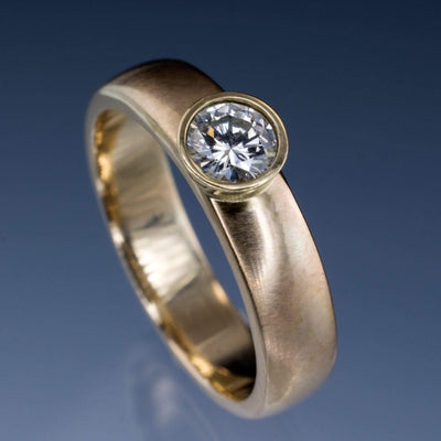 Round Diamond Modern Low Profile Bezel Set Solitaire Engagement Ring