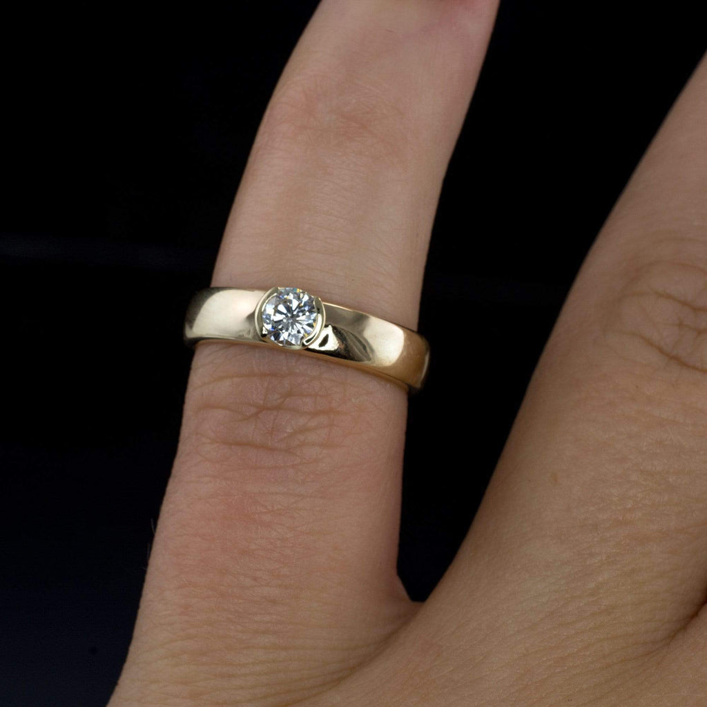 stone ring with profile rings engagement tulip setting three low
