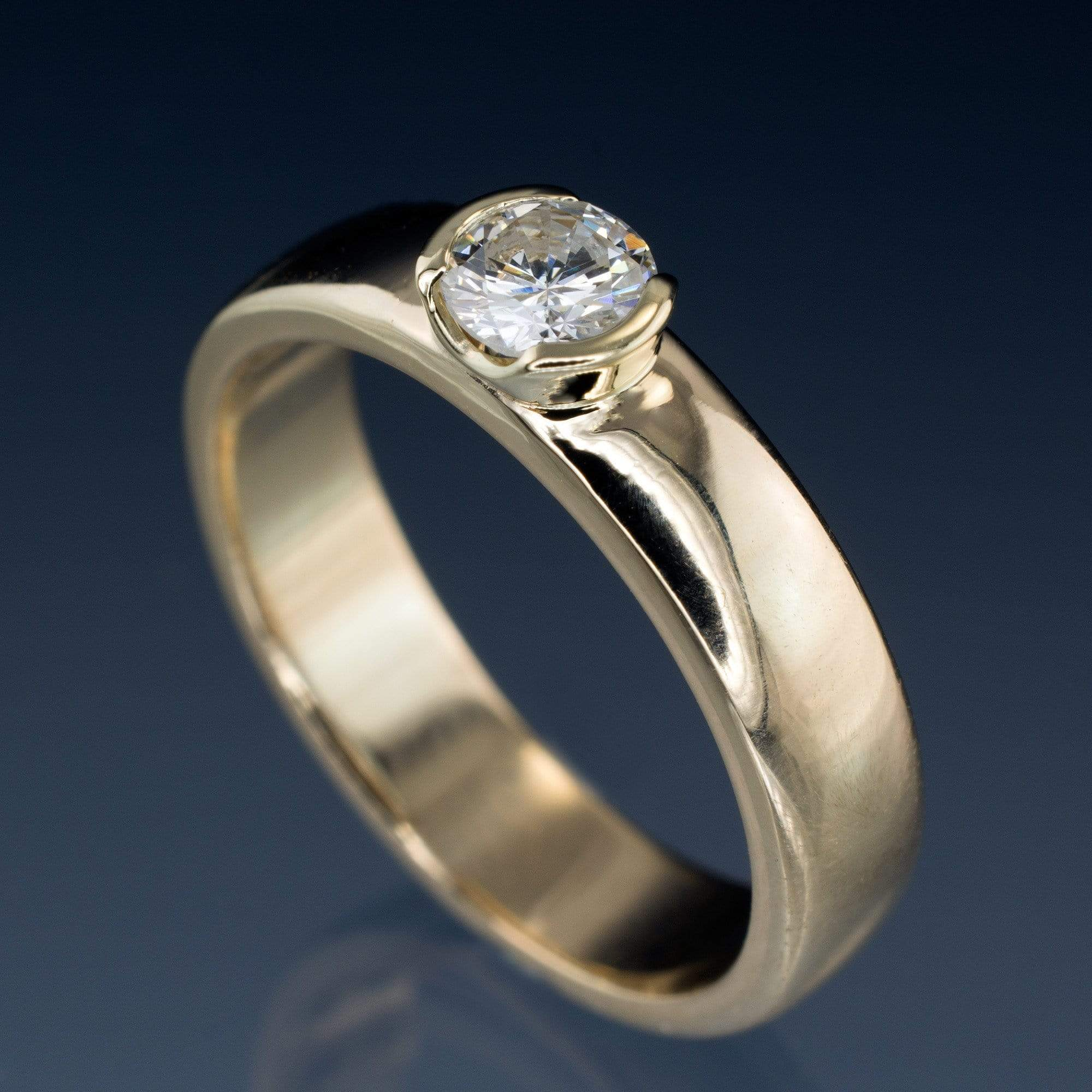 Round Diamond Modern Low Profile Half-Bezel Solitaire Engagement Ring