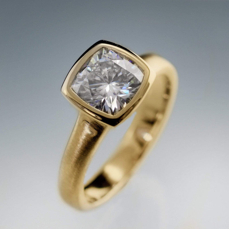 Cushion Moissanite Bezel Solitaire Engagement Ring in 14k Gold