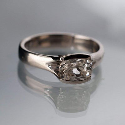 Lab Created Cushion White Sapphire Fold Solitaire Engagement Ring - by Nodeform
